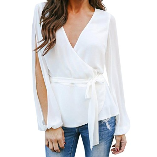 vermers Hot Sale Womens Long Sleeve T Shirts Casual Bow V Neck Loose Work Blouse Tops(L, White) (Musical Doll Suede)