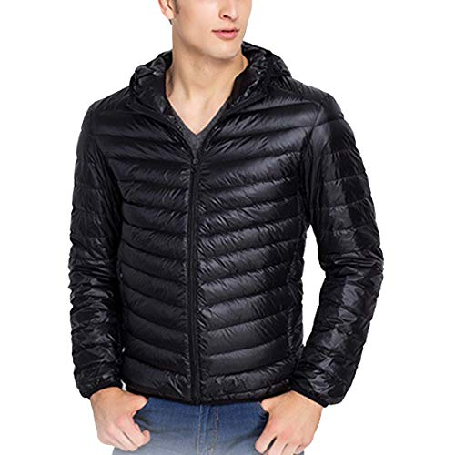 Store CX Winter Black Jacket Coat Hooded Light Puffer Men's Packable Ultra Down Weight dOO7qrx