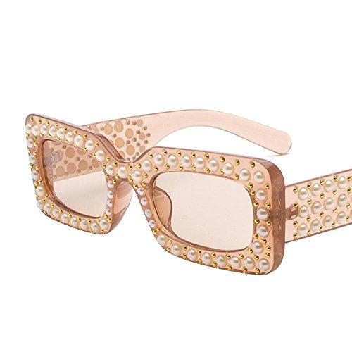 Aoligei Lunettes de soleil européenne et américaine Fashion Square diamant rond visage noir Lunettes de soleil perle mans marée S26JkyQvvw