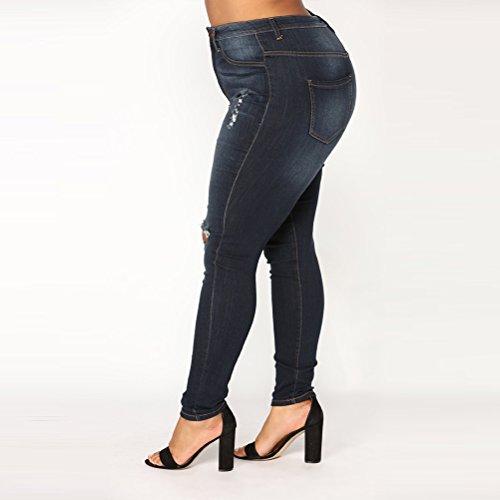 Donne Pantaloni Ginocchio Ritagliare Stretti Strappato Comfort Zhhlaixing Stretch Denim Blue Allungare Jeans qSSYgX