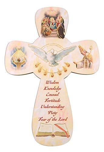 Confirmation Holy Spirit Dove Hanging Wall Cross, 5 1/2 Inch