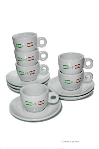 Set 6 Italian Flag Colors White Porcelain Demitasse Espresso Cups and Saucers