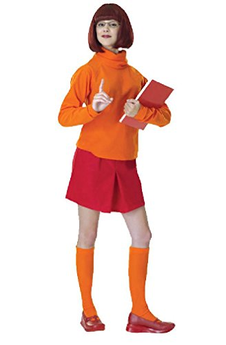 [8eighteen Scooby-Doo Velma Adult Halloween Costume] (Scoobydoo Adult Plus Costumes)