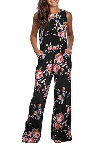 Dearlove Womens Casual Sleeveless Floral Printed Loose Elastic Waist Wide Leg Long Pants Jumpsuit Rompers Pockets Palysuit Black X-Large