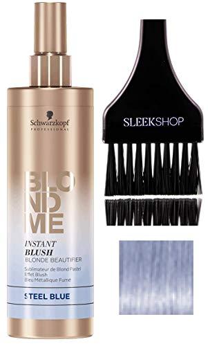 Schwarzkopf Blond Me INSTANT BLUSH BLONDE BEAUTIFIER - Steel Blue (with Sleek Tint Brush) Blonde Me Spray-On Temporary Pastel Tone Color (STEEL BLUE - 8.4 oz)