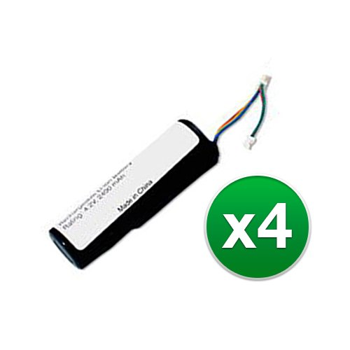 Replacement Battery for Garmin 010-10806-00 / 361-00029-00 for DC20, DC30, DC40, Astro (4-Pack)
