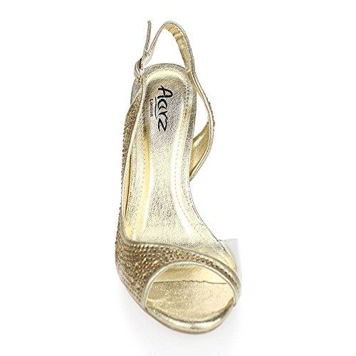 Aarz señoras de las mujeres de la tarde Banquete de boda del alto talón del dedo del pie abierto de las sandalias de novia Diamante tamaño de los zapatos (Oro, Plata, Champán, Rojo, Negro) Oro