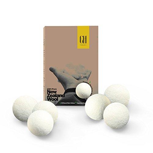6 XL Premium Organic Merino Wool Dryer Balls 100% New Zealand Wool Natural Fabric Softener reusable for 1000 dryer loads. Pure Wool Highest Quality