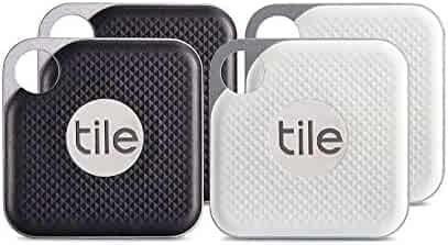 Tile Pro with Replaceable Battery - 4 pack (2 x Black, 2 x White)