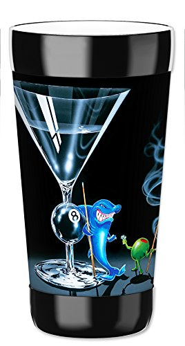 Mugzie 16 Ounce Travel Mug / Drink Cup with Removable Insulated Wetsuit Cover - Michael Godard: Pool Shark