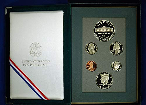 1997 S US Mint 6-Piece Prestige Set with Botanic Garden Commemorative Silver Dollar Beautiful Gem Proof ()