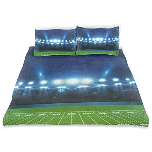 (OSBLI Bedding Duvet Cover Set 3 Pieces American Football Arena Bed Sheets Sets and 2 Pillowcase for Teens)