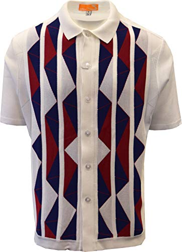 Edition-S Men's Short Sleeve Knit Shirt- California Rockabilly Style Aztec Triangle Design (X-Large, White)