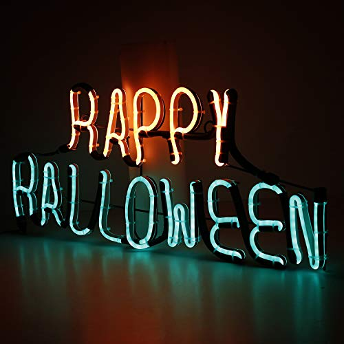 Neon Sign Light Plate Happy Halloween Word Design Night Lamp Wall Light for Halloween Bar Mural Crafts Room Home Decorations