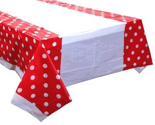 Just Artifacts Large Decorative Plastic Rectangular Tablecloth/Cover - 5 Pack - (87-Inch L x 52-Inch W) - Polka Dot Pattern: Red - Table Cloths for Weddings, Birthday Parties and Life -