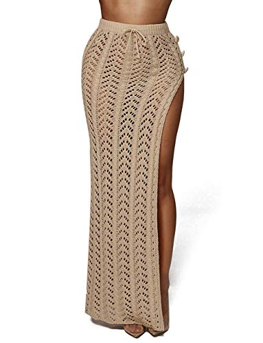 - Knitted Beach Dress Swimsuit Women Summer Beach Wear Bikini Cover Up Long Hollow Out Skirt Bohemia Light Camel