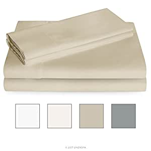 LINENSPA 600 Thread Count Ultra Soft, Deep Pocket Cotton Blend Sheet Set - King - Sand