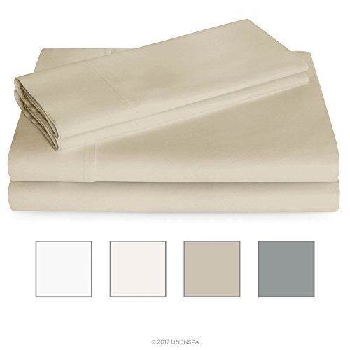 Linenspa 600 Thread Count Ultra Soft, Deep Pocket Cotton Blend Sheet Set - Queen - Sand