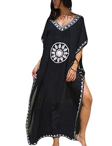 Chunoy Women Floral Embroidery V Neck Short Sleeve Loose Maxi Kaftan Dress (Maxi Kaftan)