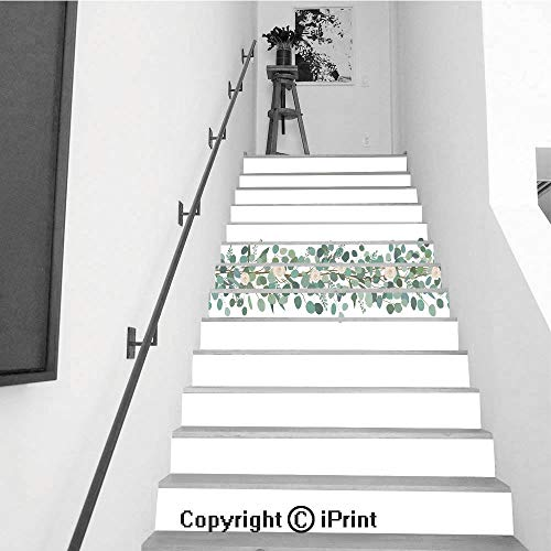 13Pcs Stair Sticker Decals 3D Creative Building Stair Risers Tiles Wallpaper Mural Self-Adhesive,Elegant Seamless Border from Roses and Eucalyptus Branches Floral Garland Vector Illustration