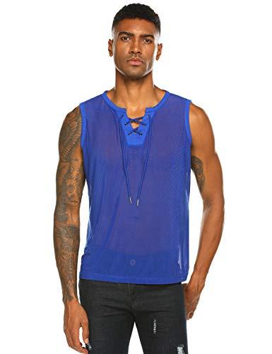 COOFANDY Mens See-through Sleeveless Club Wear Sexy Mesh Tank Top Blue S