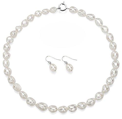 Argent sterling 10-10.5mm Blanc Baroque Collier de perles de culture de 45,7cm et de boucles d'oreilles créoles