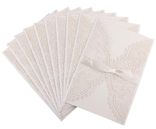 DriewWedding 20 pcs Invitations Card, White Invitations, Laser Cut lace Pattern with Envelope & Ribbon Bow for Bridal Baby Shower/Engagement /Birthday -