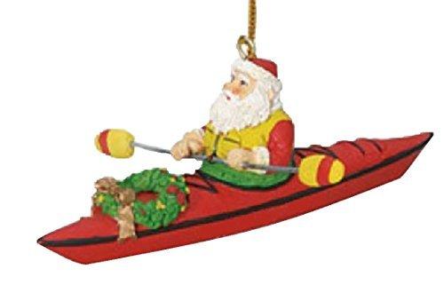 (Santa on a Kayak Christmas Tree Holiday Decoration Ornament )