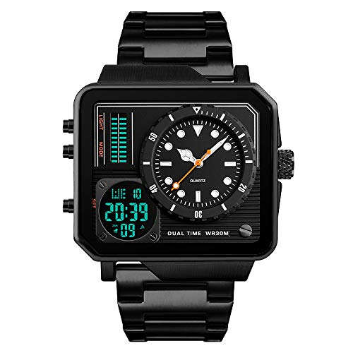 Men's Digital Sports Watch, LED Square Large Face Analog Quartz Wrist Watch with Multi-Time Zone Waterproof Stopwatch (Black)