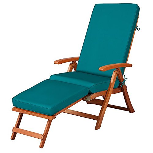 Steamer Deck Chair - Teal Blue Outdoor All Weather Cushion for Steamer Pool Deck Chair Seasonal Replacement Cushion