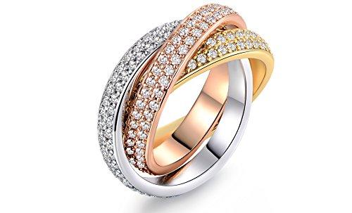 Three-Tone Swarovski Crystal Rolling Ring (8) (Gold Swarovski Crystal Ring)