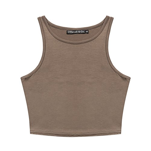OThread & Co. Women's Basic Crop Tops Stretchy Casual Crew Neck Sleeveless Crop Tank Top (Medium, Coffee)