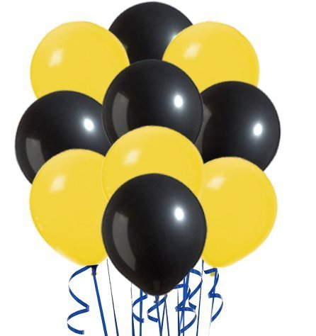 Perfect Color Inflatables Yellow and Black Variety Pack of 20 by PMU -