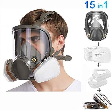 Máscara De Gas Filtro Autocebante Máscara Antigás Cubierta De Cara Completa Equipo De Protección para Bomberos con Visión Salvaje