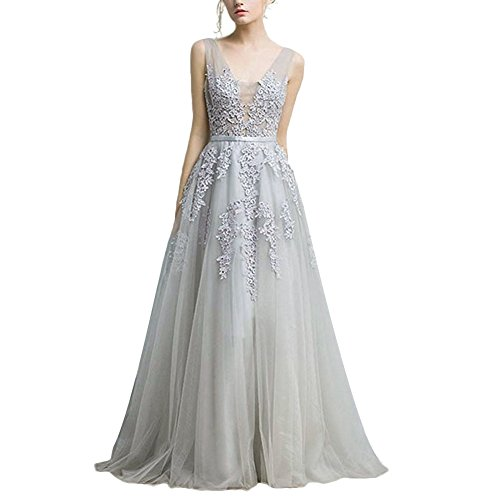 IBTOM CASTLE Women Formal Evening Dresses Deep V-Neck Tulle Prom Ball Gown for Girl Cocktail Pageant Wedding Bridesmaid Long Maxi Dress Gray ()