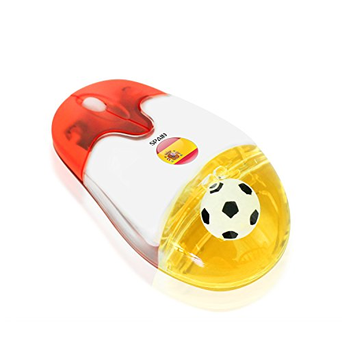 Plutus Luxury Soccer Gift Spain 2.4G Wireless Optical Mouse with USB Receiver Spanish national flag