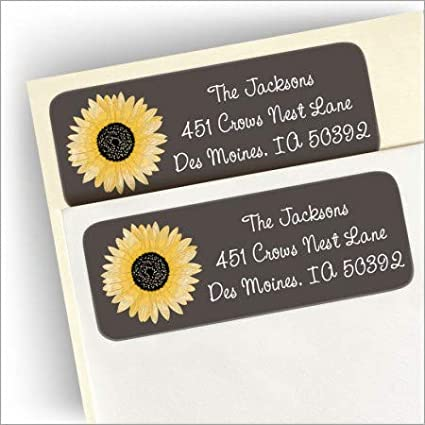 Flowers Floral Sunflowers Return Address Labels Personalized Custom We Print and Mail to You!