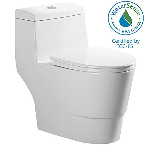 WoodBridge T-0001, Dual Flush Elongated One Piece Toilet with Soft Closing Seat, Comfort Height, Water Sense, High-Efficiency, Rectangle Button ()