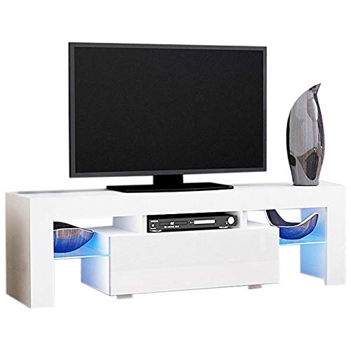 Modern TV Stand with Drawers High Gloss White LED TV Stand Console Table Flat Screens White 1303545cm (High Modern Gloss)