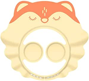 TOPBATHY Baby Shampoo Cap Shower Bathing Protection Hat Adjustable Animal Shield for Toddlers Infant 1PC (Yellow Fox)