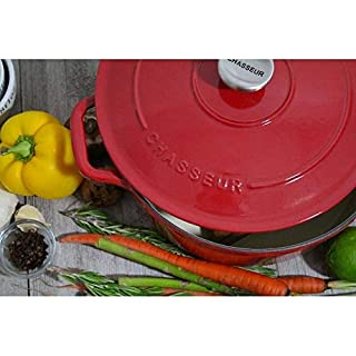 5.5-Quart Red French Enameled Cast Iron Round Dutch Oven Stainless Steel Includes Lid Safe