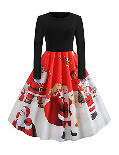 Feelingirl Rockabilly Femme Fille Mere Robe Robes Pull Rouge Noel Ethnique Noël IwZIqBxOr