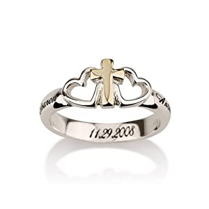 Engraved Sterling Silver Cross Ring with Two Hearts and a Gold Cross Heart Ring