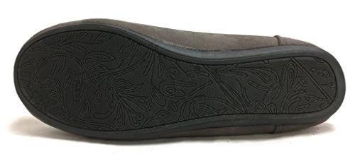 Blåbær Kvinners Faux Myk Semsket Skinn Foret Moccasin Loafer Slippersruns 1/2 Størrelse Small Grå