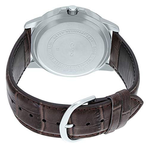 Casio MTP-VD01L-8EV Men's Enticer Brown Leather Band Grey Dial Casual Analog Sporty Watch