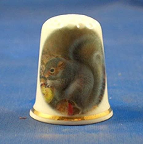 Porcelain China Collectable Thimble Red Squirrel Free Gift Box