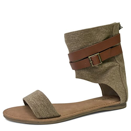 Bamboo Womens Open Toe Single Band Ankle Cuff Buckled Strap Gladiator Flat Sandals Natural 7qnQK7