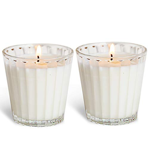 YUCH Scented Candles Aromatherapy All Natural: Soy Wax Strong Fragrance of Mint Glass Gift -2 Pack。