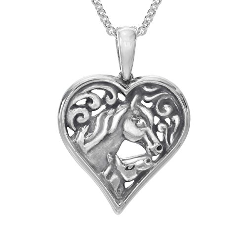 Kabana Horse Mother's Jewel Heart Pendant Necklace in Sterling Silver ()