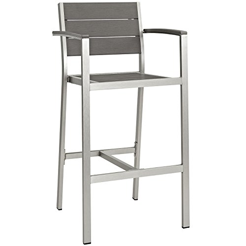 Modway Shore Outdoor Patio Aluminum Bar Stool in Silver Gray